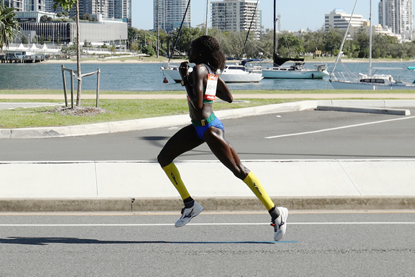 Namibian distance runner Helalia Johannes in action in the marathon (Getty Images)