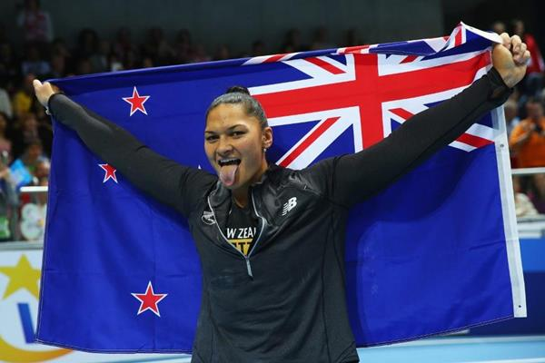 Valerie Adams after winning the shot put at the 2014 IAAF World Indoor Championships in Sopot (Getty Images)