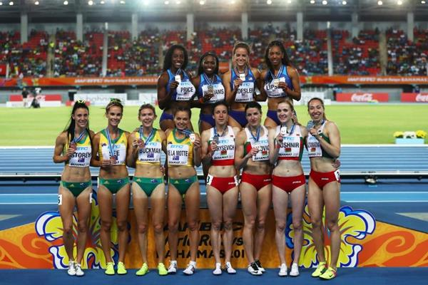 Podium - women's 4x800m IAAF/BTC World Relays 2017 (Getty Images)