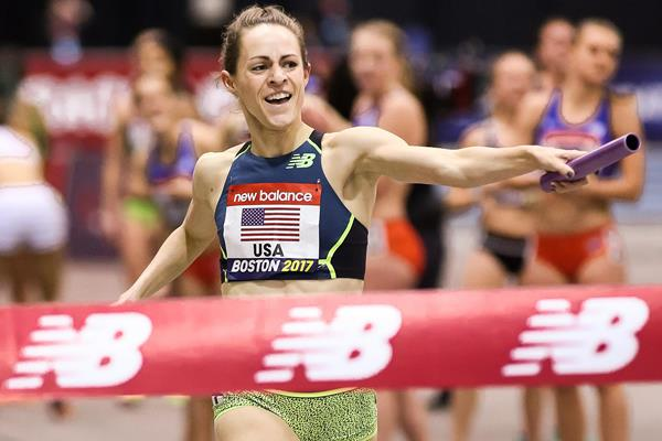 Jenny Simpson anchors a world indoor best in the distance medley relay at the IAAF World Indoor Tour meeting in Boston (Victah Sailer)
