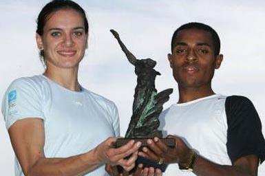 Yelena Isinbayeva of Russia and Kenenisa Bekele of Ethiopia are 2004 Athletes of the Year (Getty Images)