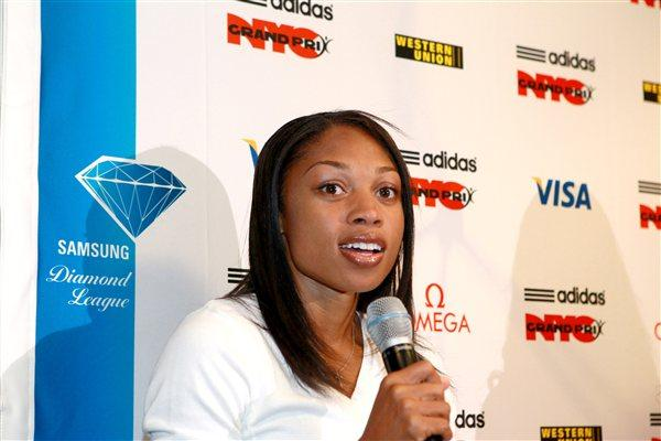 Allyson Felix at the pre-meet press conference in New York (Victah Sailer)