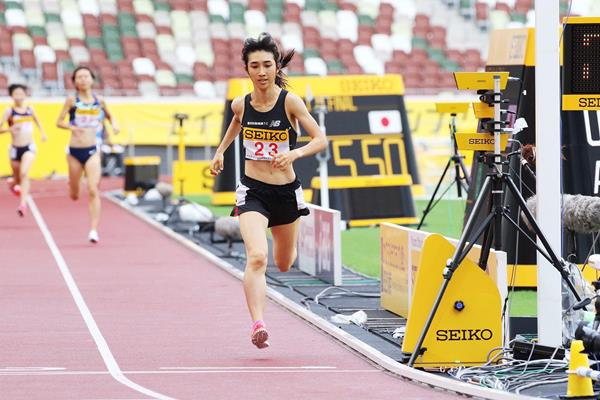 Nozomi Tanaka wins the 1500m at the Seiko Golden Grand Prix in Tokyo (JAAF)