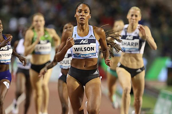 Ajee Wilson on the way to the Diamond League 800m title in Brussels (Giancarlo Colombo)