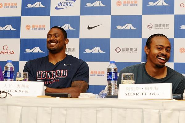 David Oliver and Aries Merritt at the press conference ahead of the IAAF Diamond League meeting in Shanghai (Errol Anderson)