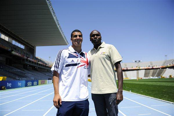 Adam Gemili (L) of United Kingdom and Wilson Kipketer of Denmark pose for the media before the start of the 14th IAAF World Junior Championships (Getty Images)