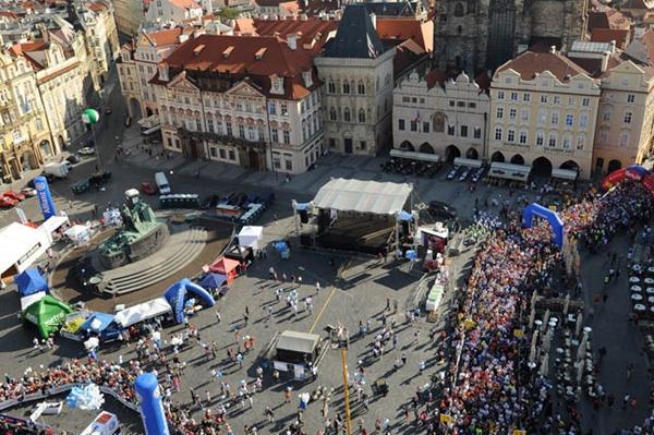 Prague's historic Old Town Square- start of the Volkswagen Prague marathon (organisers)