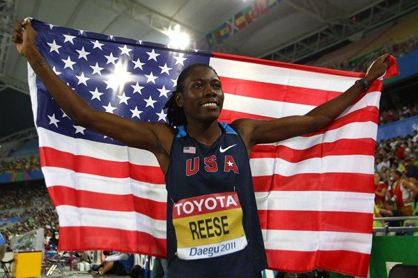 Brittney Reese of the USA celebrates retaining her Long Jump World title in Daegu (Getty Images)