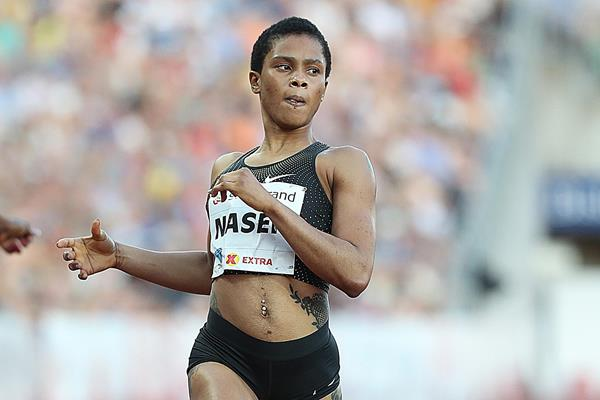 Salwa Eid Naser winning the 400m in Oslo (Giancarlo Colombo)