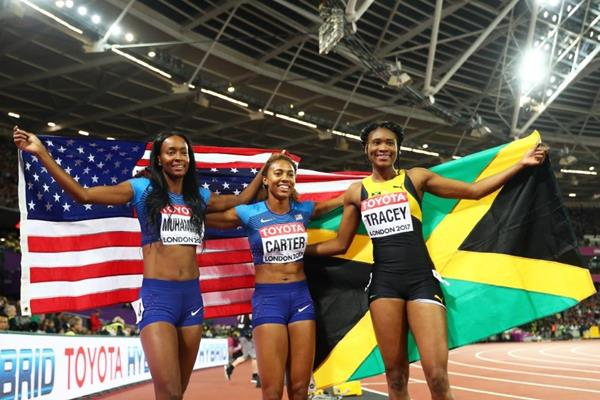 Women's 400m hurdles medallists at the IAAF World Championships London 2017 (Getty Images)