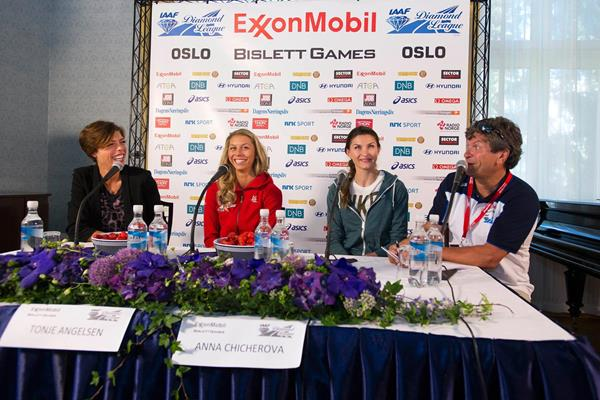 Blanka Vlasic, Tonje Angelsen and Anna Chicherova at the press conference for the 2013 Oslo Diamond League (Anders Sjogren)