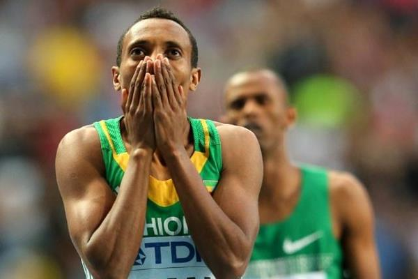Mohammed Aman after the men's 800m Final at the IAAF World Athletics Championships Moscow 2013 (Getty Images)
