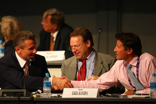 Sergey Bubka is congratulated by Sebastian Coe after both are elected as IAAF Vice President at the Osaka Congress (Getty Images)