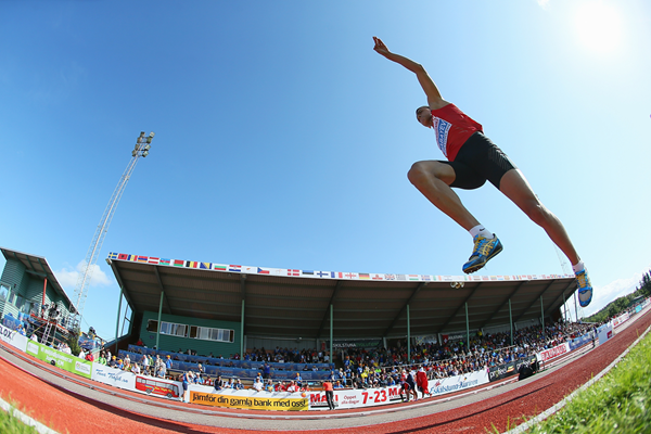 Nazim Babayev on his way to winning the triple jump title at the European Junior Championships (Getty Images)