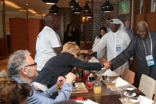Qatar Athletics Federation President and IAAF Vice President Dahlan Al Hamad,  IAAF President and Diamond League AG Chairman Lamine Diack, at a media breakfast in Doha on 9 May 2014 (Doha LOC)