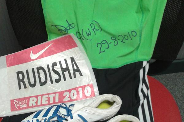 David Rudisha's shoes and kit from his 2010 800m World Record in Rieti (Courtesy David Rudisha)