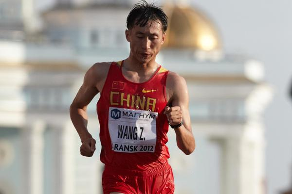 Zhen Wang of China on his way to winning the 20km race in Saransk (Getty Images)