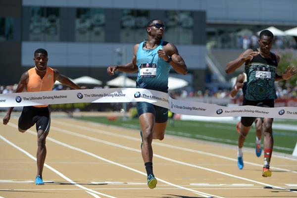 Gil Roberts wins the US 400m title in Sacramento (Kirby Lee)