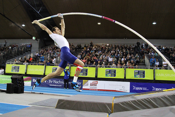 Renaud Lavillenie, winner of the pole vault at the Indoor Meeting Karlsruhe (Jean-Pierre Durand)