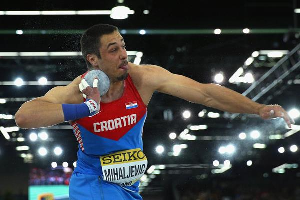 Filip Mihaljevic in the shot put at the World Indoor Championships Portland 2016 (Getty Images)