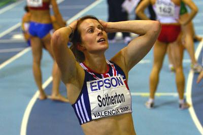 The end of a great competition: Kelly Sotherton realises that she has not quite done enough to take pentathlon gold from Tia Hellebaut (Getty Images)