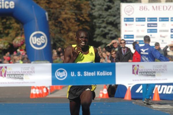 Jacob Kipkorir Chesire winning the Kosice Peace Marathon (Kosice Peace Marathon organisers)