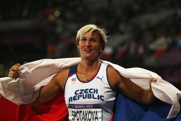 Gold medalist Barbora Spotakova of Czech Republic celebrates after the Women's Javelin Throw Final on Day 13 of the London 2012 Olympic Games on 09 Augut 2012 (Getty Images)