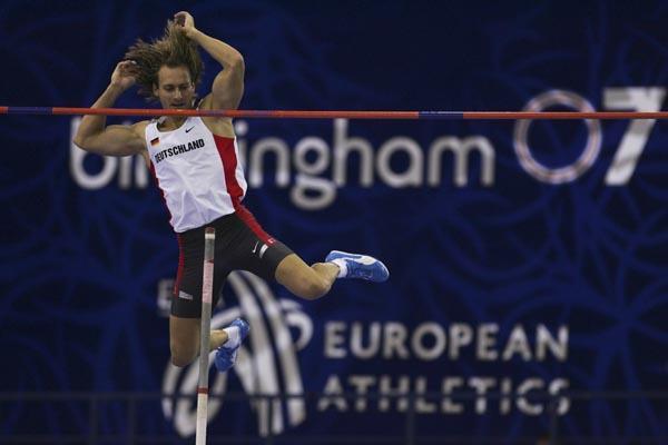Tim Lobinger in action in Birmingham (Getty Images)