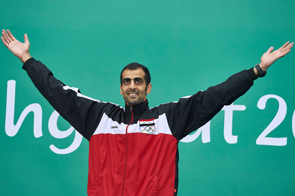 Majd Eddin Ghazal after taking gold in the high jump at the Asian Indoor Games (Organisers)