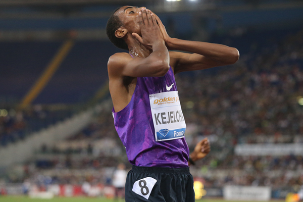 Yomif Kejelcha after winning the 5000m at the IAAF Diamond League meeting in Rome (Gladys von der Laage)