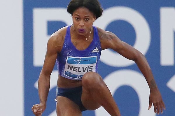 Sharika Nelvis on her way to winning the 100m hurdles at the IAAF Diamond League meeting in Rome (Gladys von der Laage)