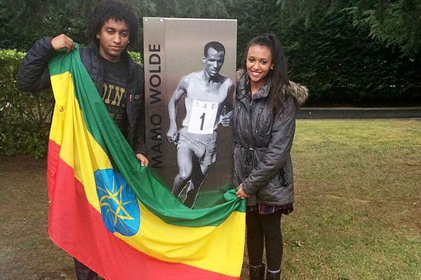 Tabor and Addis, Mamo Wolde's son and daughter, at the Cross Internacional Juan Muguerza in Elgoibar (Organisers)