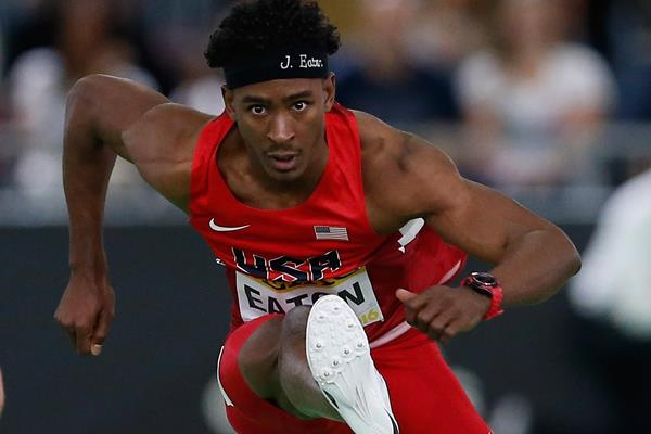 Jarret Eaton in the 60m hurdles at the IAAF World Indoor Championships Portland 2016 (Getty Images)
