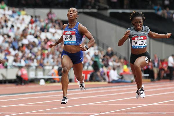 Shelly-Ann Fraser-Pryce wins the 100m at the IAAF Diamond League meeting in London (Jean-Pierre Durand)