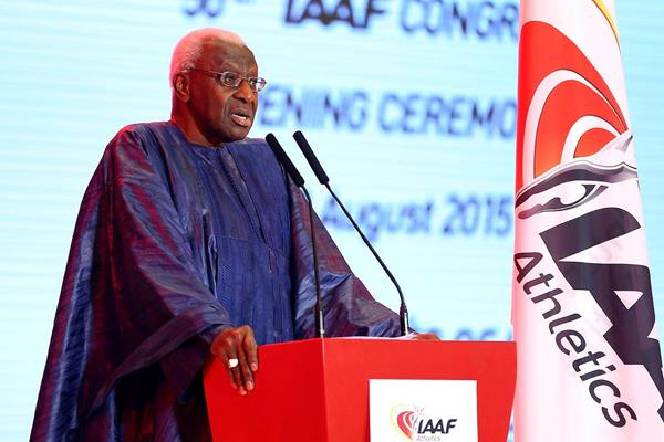 IAAF President Lamine Diack at the Opening Ceremony and Dinner for the 50th IAAF Congress at the Great Hall of the People in Beijing (Getty Images)
