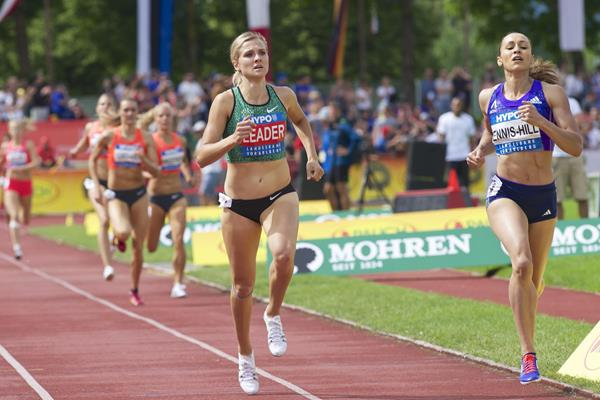 Brianne Theisen Eaton and Jessica Ennis-Hill in the 800m at the 2015 Hypo-Meeting in Gotzis (KRAM / organisers)
