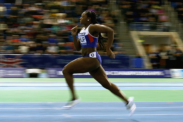 Asha Philip in the 60m at the British Indoor Championships (Getty Images)