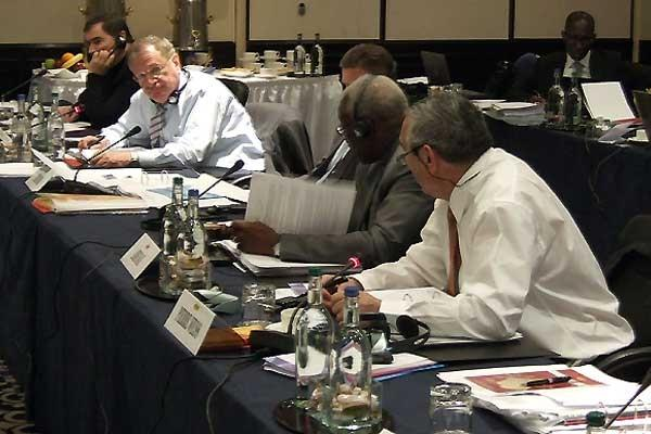 Vice-President Bob Hersh (left - with face towards camera) makes an intervention at the IAAF Council Meeting (Chris Turner for the IAAF)