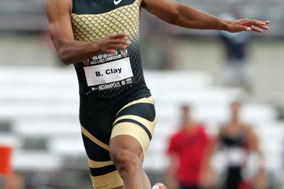 World Decathlon champion Bryan Clay carries a narrow lead over Tom Pappas into day 2 at the USATF Championships (Getty Images)