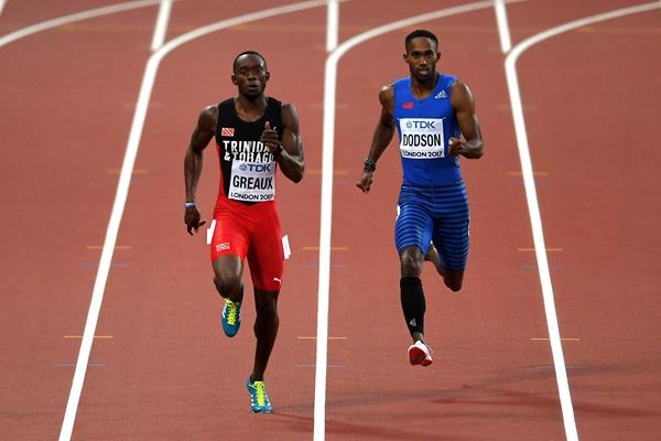 Kyle Greaux in the 200m at the 2017 World Championships in London (Getty Images)