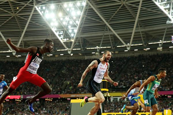 Jereem Richards, Ramil Guliyev and Wayde van Niekerk in the 200m final (Getty Images)