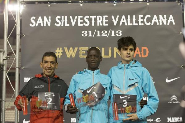 Leonard Komon (centre), the winner of the 2013 San Silvestre Vallecana in Madrid (Organisers)