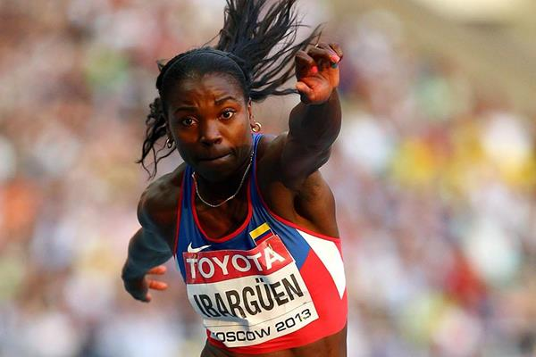 Caterine Ibarguen in the womens Triple Jump at the IAAF World Athletics Championships Moscow 2013 (Getty Images)