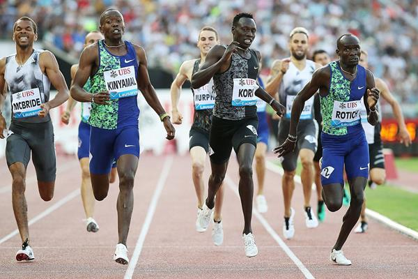 Wycliffe Kinyamal kicks to 800m victory at the IAAF Diamond League meeting in Lausanne (Giancarlo Colombo)