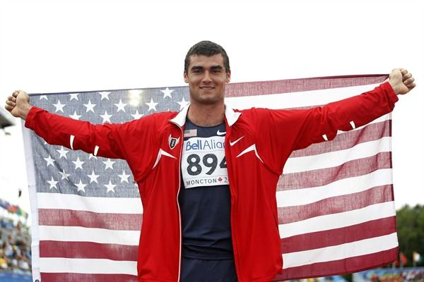 Conor McCullough celebrates gold for the USA in the men's Hammer (Getty Images)