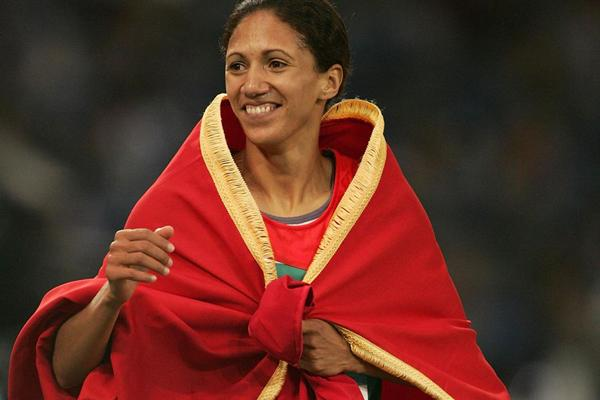 Hasna Benhassi of Morocco celebrates winning silver in the 800m (Getty Images)