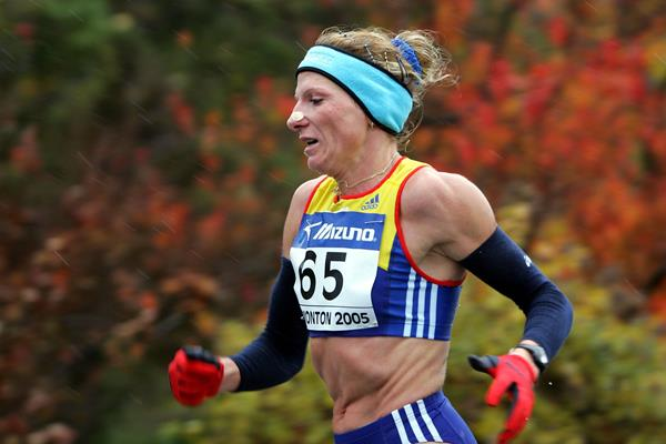 Romanian distance runner Constantina Tomescu-Dita in action at the 2005 World Half Marathon Championships (Getty Images)