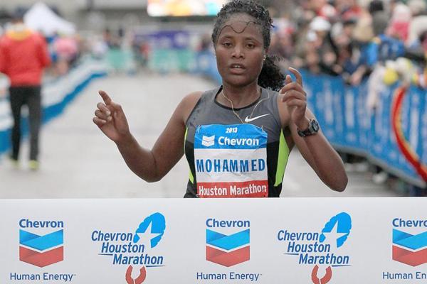 Merima Mohammed wins the Houston Marathon (Victah Sailor)