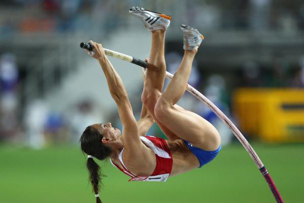 Yelena Isinbayeva of Russia on her way to victory in the Pole Vault Final (Getty Images)