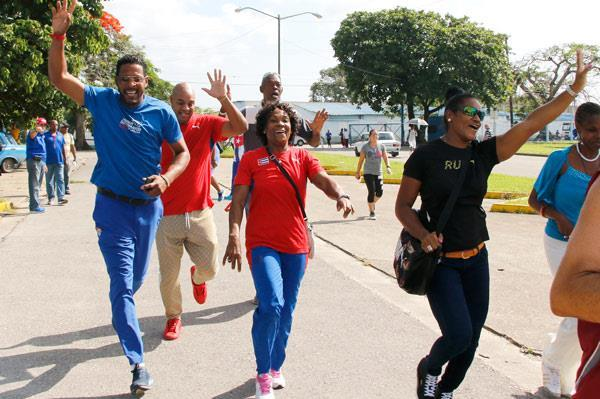 Cuban athletics greats Javier Sotomayor, Anier Garcia, Ana Quirot and Yipsi Moreno at the IAAF Run 24:1 event in Havana (organisers)